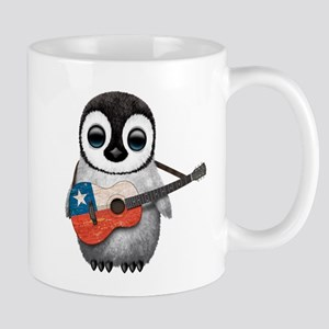 Baby Penguin Playing Chilean Flag Guitar Mugs